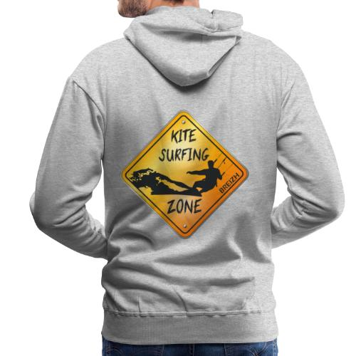 KITESURFING ZONE BREIZH - Sweat-shirt à capuche Premium pour hommes