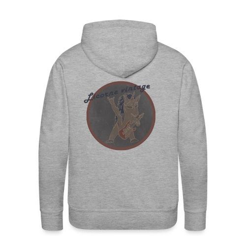 Licorne guitare metal Vintage fond gris - Sweat-shirt à capuche Premium pour hommes