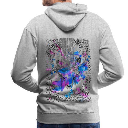 cerf aquarelle - Sweat-shirt à capuche Premium pour hommes