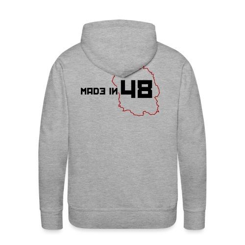 made in 48 2 noir et rouge png - Sweat-shirt à capuche Premium pour hommes