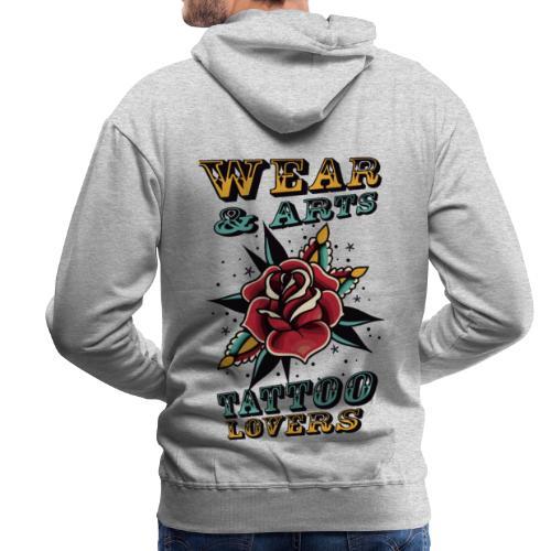 Rose & lettering - Sudadera con capucha premium para hombre