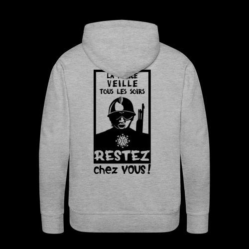 Couvre-feu - La Police Veille.. (Motif N°3) - Sweat-shirt à capuche Premium pour hommes