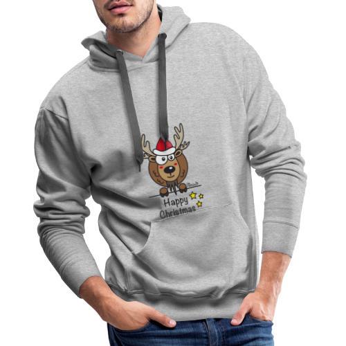Renne Noël, Happy Christmas, Drôle, Humour, Santa - Sweat-shirt à capuche Premium pour hommes