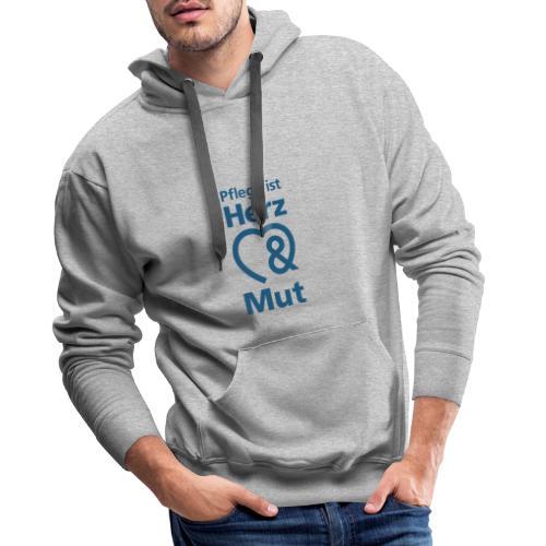 Pflege ist Herz & Mut (blau) - Männer Premium Hoodie