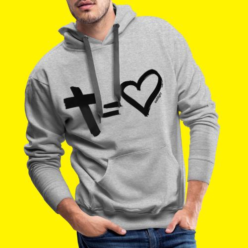 Cross = Heart BLACK - Men's Premium Hoodie