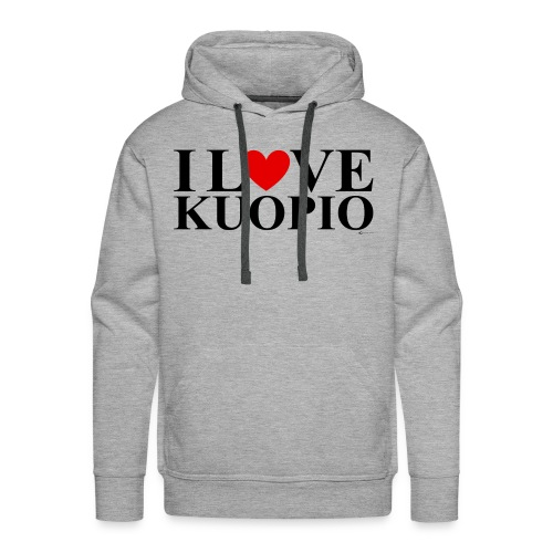 I LOVE KUOPIO (koko teksti, musta) - Miesten premium-huppari