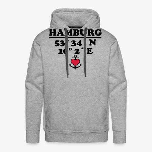 HAMBURG Koordinaten Anker 2c A / Längengrad - Männer Premium Hoodie