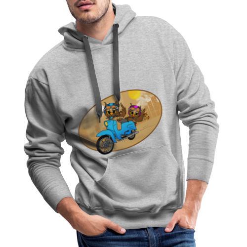 Eulen mit Schwalbe - braun - Männer Premium Hoodie