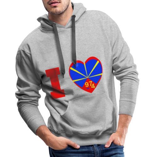 I love 974 - Lo Mahaveli - Sweat-shirt à capuche Premium pour hommes