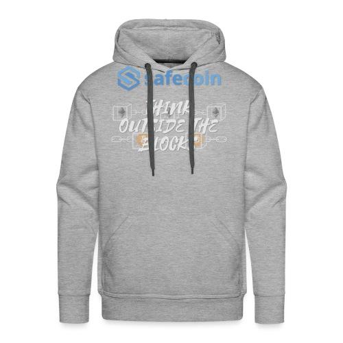 SafeCoin; Think Outside the Blocks (blue + white) - Men's Premium Hoodie