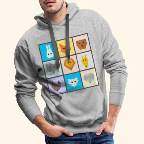 animales dibujos - Sudadera con capucha premium para hombre