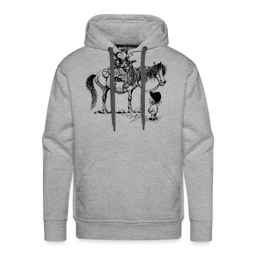 Thelwell Cartoon Cowboy mit seinem Pony - Männer Premium Hoodie