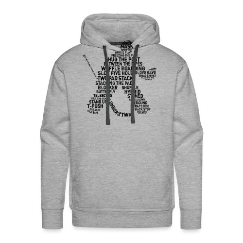 Goalie Lingo - Grunge Text Version (black print) - Men's Premium Hoodie
