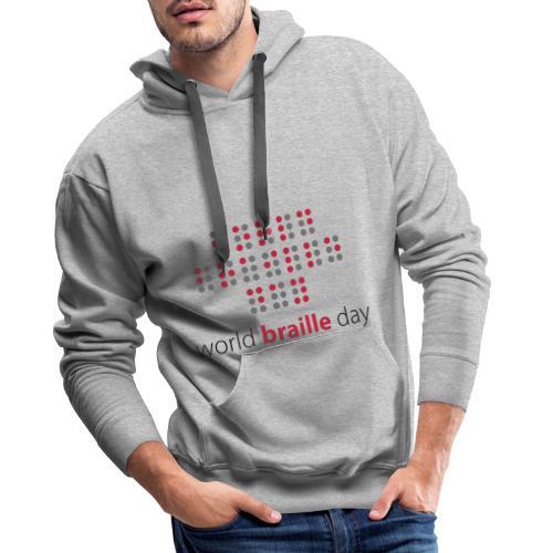 Slogan World braille day. Wereld braille dag. - Mannen Premium hoodie