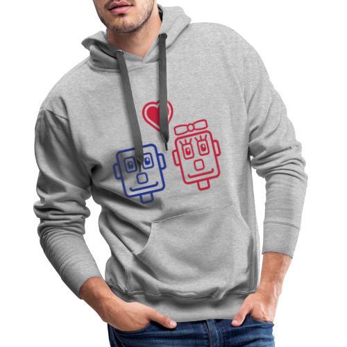 Motif Robots Amoureux - Sweat-shirt à capuche Premium pour hommes