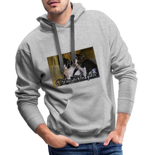 Amor por los gatos - Sudadera con capucha premium para hombre