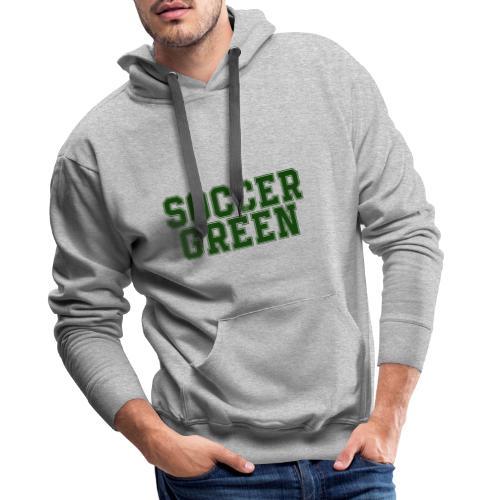 Soccer Green Style Text - Felpa con cappuccio premium da uomo