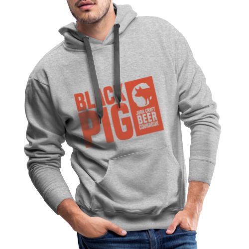BlackPig Horizontal Orange - Sweat-shirt à capuche Premium pour hommes