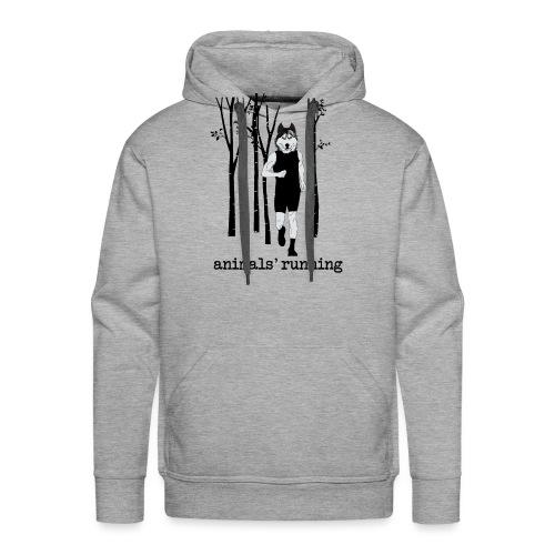 Loup running - Sweat-shirt à capuche Premium pour hommes