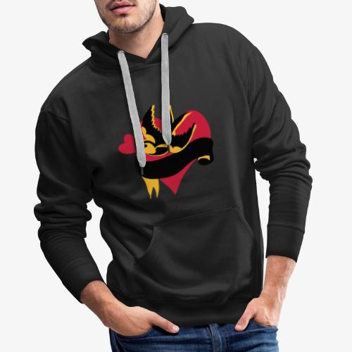 retro tattoo bird with heart - Men's Premium Hoodie