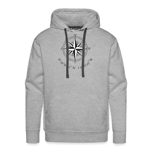Amble, Northumberland Compass (black) - Men's Premium Hoodie