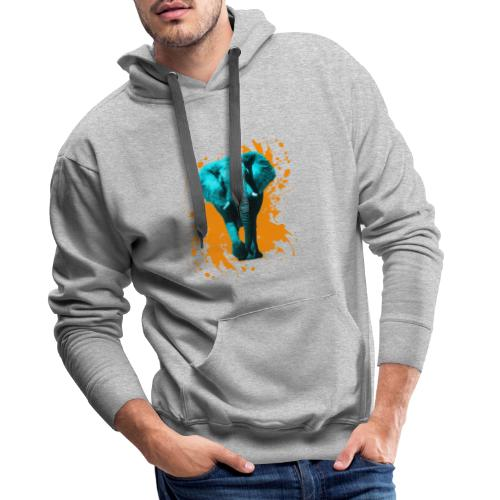 Elefant in Türkis - Männer Premium Hoodie