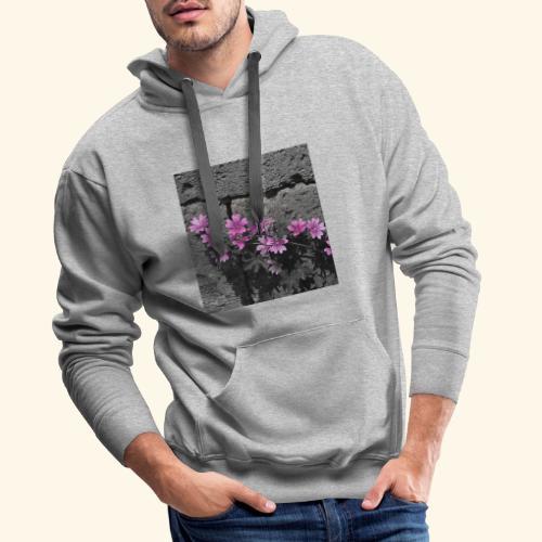 Fiori viola disegnati - Felpa con cappuccio premium da uomo