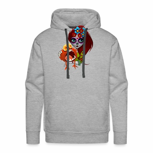 Catrina con Monstruo - Sudadera con capucha premium para hombre