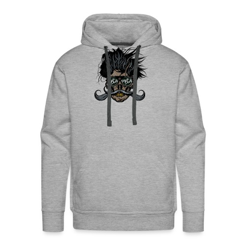 hipster skull tete de mort crane barbu moustache - Sweat-shirt à capuche Premium pour hommes