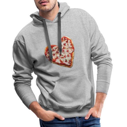 Pizza a cuore - Felpa con cappuccio premium da uomo