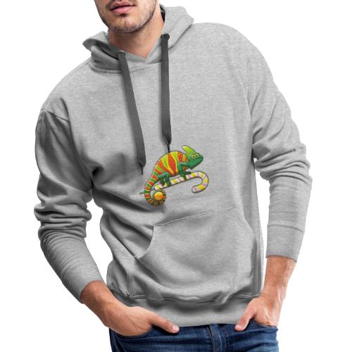 Christmas Chameleon on a Candy Cane - Men's Premium Hoodie