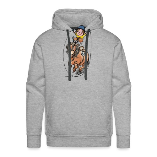 Thelwell Funny Rope Jumping Horse And Rider - Men's Premium Hoodie