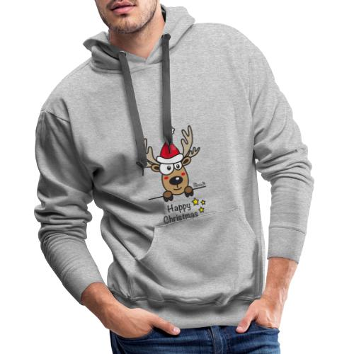 Renne Joyeux Noël - Happy Christmas, Humour, Drôle - Sweat-shirt à capuche Premium pour hommes