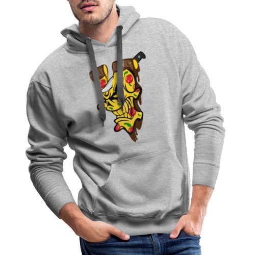 Pizza Schädel mit Messer - Männer Premium Hoodie