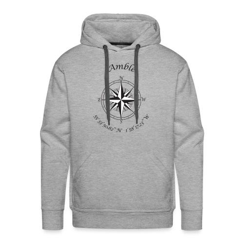 Amble, Northumberland Compass (black) - Men's Premium Hoodie