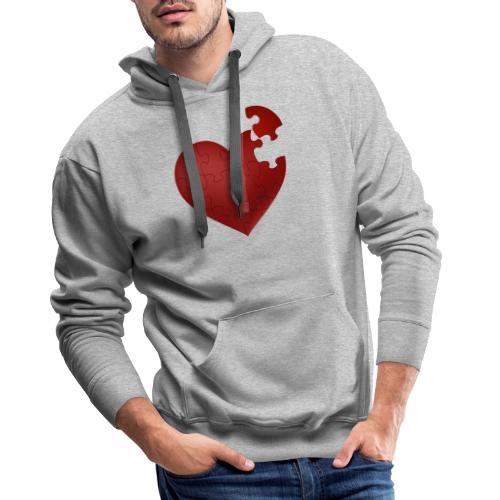 Coeur en puzzle - Sweat-shirt à capuche Premium pour hommes