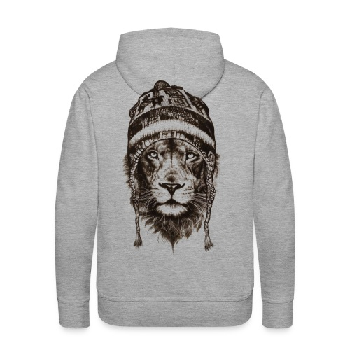 Löwe Mütze Schwarz König Tiere TShirt - Männer Premium Hoodie