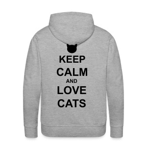 Keep Calm and Love Cats - Black - Men's Premium Hoodie