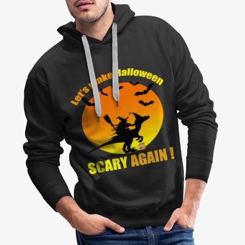 Witch raiding Dinosaure on Halloween - Sweat-shirt à capuche Premium pour hommes