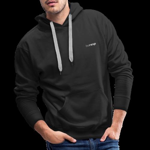 BeResp Classic Line 2 White - Sweat-shirt à capuche Premium pour hommes