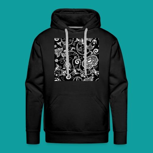 design floral vintage noir et blanc - Sweat-shirt à capuche Premium pour hommes