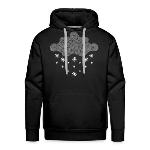 nuage gris et flocons vacances d'hiver - Sweat-shirt à capuche Premium pour hommes