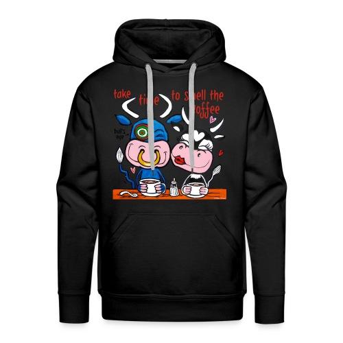 Verliefde koeien drinken koffie - Mannen Premium hoodie