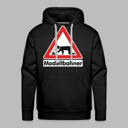Warnschild Modellbahner Dampflok - Männer Premium Hoodie