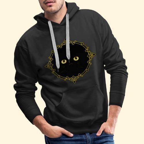 Badge Chat Noir - Pixel Art - Sweat-shirt à capuche Premium pour hommes