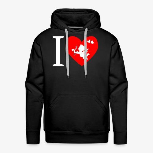 cupidon rouge blanc, I love - Sweat-shirt à capuche Premium pour hommes