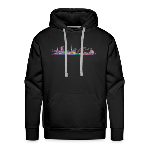 Hamburg Skyline gemalt in Acyl, Maxipike - Männer Premium Hoodie