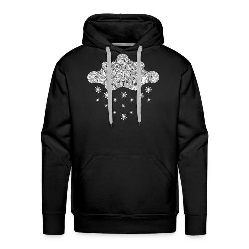 nuage blanc et flocons vacances d'hiver - Sweat-shirt à capuche Premium pour hommes