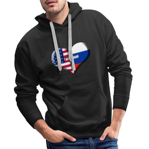 USA and Russia Heart with Cross - Men's Premium Hoodie