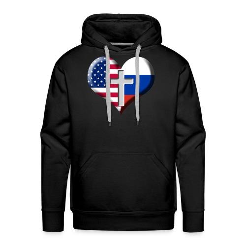 USA and Russia Heart with Cross - Premium hettegenser for menn